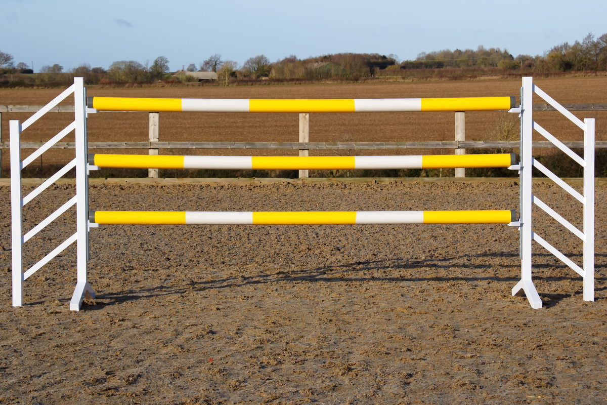 Yellow and White Plastic Show Jump Poles