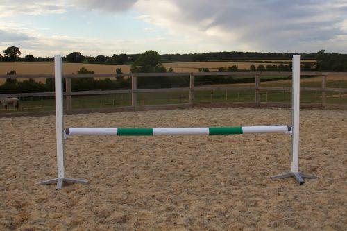 White & Green Plastic Show Jump Poles